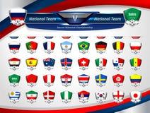 Funktionskortet sänder och förser med märke nationsflaggan stock illustrationer