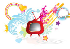 Funky abstract background with red retro TV. Illustration Stock Photos