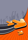 Funky active people poster. An abstract illustrated poster of active young people silhouettes on bright a orange and gray background Royalty Free Stock Photos