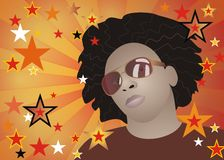 Funky afro man. Vector illustration of funky African american man with stars background Royalty Free Stock Photo