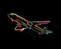 Funky airplane. Drawing against black background Stock Image