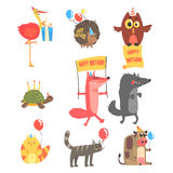 Funky Animals With Party Attributes At The Kids Happy Birthday Celebration Set Of Cartoon Fauna Characters Royalty Free Stock Photos