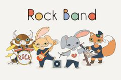 Funky animals rock band. Cute children music illustration. Vector image Royalty Free Stock Image