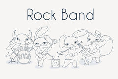 Funky animals rock band. Cute children music illustration. Royalty Free Stock Image