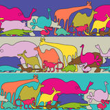 Funky animals - seamless  pattern Stock Photo