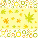 Funky autumn design. Funky autumn leaves and rings Royalty Free Stock Images