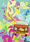 Funky background. Hippie style van, with colourful background Stock Photos