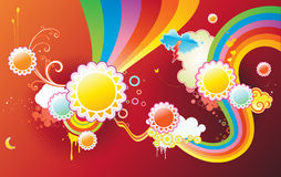 Funky background. Vector illustration of funky styled design background made of sun shapes, rainbow shapes and floral elements Royalty Free Stock Image