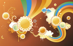 Funky background. Vector illustration of funky styled design background made of sun shapes, rainbow shapes and floral elements Stock Photos