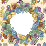 Funky Background Frame. Vector background with abstract flowers and swirls. EPS 8 Stock Photo