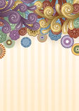 Funky Background with Swirls at the Top. Vector background with abstract flowers and swirls. EPS 10 Stock Photo