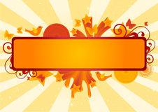 Funky Banner. On sunburst background. Vector illustration Stock Photos