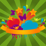 Funky Banner. On sunburst background. Vector illustration Stock Photography