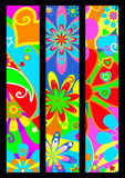 Funky banners. Set of three funky flower power banners inspired by the colorful 1960s and 70s stock illustration