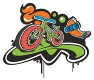 Funky bike. Pattern design background royalty free illustration