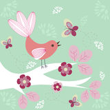 Funky bird. Funky stylized bird on a tree - floral background royalty free illustration
