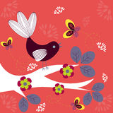 Funky bird. Abstract bright funky bird on a tree royalty free illustration