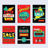 Funky Black Friday Sale cards set on gray background Royalty Free Stock Image
