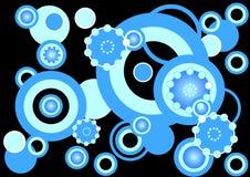Funky blauwe cirkelsachtergrond Stock Foto's