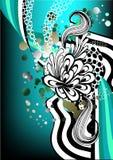 Funky blauwe en groene retro grafisch Royalty-vrije Stock Afbeeldingen