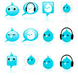 Funky blue bird icons. Collection of blue bird icons vector illustration