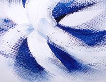 Funky blue flower. A white and blue flower painted on a canvas board Royalty Free Stock Image