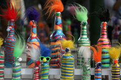 Funky bottles. Bottles are dressed up Stock Image