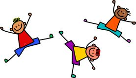 Funky Boys Playing. A cartoon whimsical drawing of three little boys jumping and leaping about Vector Illustration