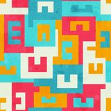 Funky bright maze seamless pattern Stock Photos
