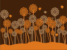 Funky brown & orange retro flowers & butterflies Royalty Free Stock Image