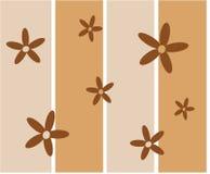 Funky bruine retro bloemen stock illustratie