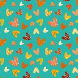 Funky bubbly hearts on mulitdirectional turquoise background vector seamless pattern vector illustration