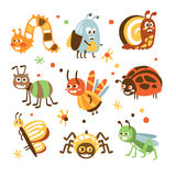 Funky Bugs And Insects Collection Of Small Animals With Smiling Faces And Stylized Design Of Bodies. Friendly Childish Creative Micro Fauna Prints In Bright Royalty Free Stock Photo