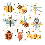 Funky Bugs And Insects Set Of Small Animals With Smiling Faces And Stylized Design Of Bodies. Friendly Childish Creative Micro Fauna Prints In Bright Cartoon Stock Images