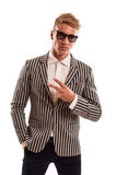 Funky businessman showing peace sign Royalty Free Stock Photography