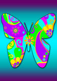 Funky butterfly. Funky flower power pattern butterfly on a gradient blue and purple background royalty free illustration