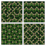 Funky Camouflage Patterns. Funky camo patterns from modular circle patterns in classic camouflage greens. Can be used as is or seamlessly tiled for a background vector illustration