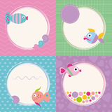 Funky cartoon fish greeting cards collection. Colorful fish greeting cards set on pink zig zag, green rectangular, blue polka dot and violet hearts pattern Stock Photography