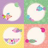 Funky cartoon fish greeting cards collection. Colorful fish greeting cards set on violet zig zag, green bubbles, yellow polka dot and orange hearts pattern Royalty Free Stock Image