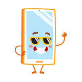 Funky cartoon mobile phone, smartphone character in sunglasses. Vector illustration isolated on white background. Cartoon mobile phone, smartphone character Stock Image