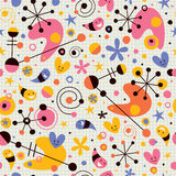 Funky cartoon retro note book paper pattern Stock Images