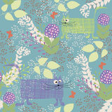 Funky cats. Funky stylized floral seamless pattern with cats stock illustration