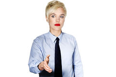 Funky Caucasian business woman. Offering her hand royalty free stock image