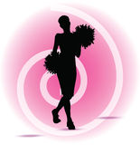 Funky cheerleader silhouette Stock Images