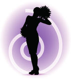 Funky cheerleader silhouette Royalty Free Stock Photos