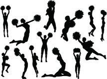 Funky cheerleadersilhouet Stock Fotografie