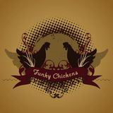 Funky chickens, emblem. Funky chickens, design element, emblem illustration with chickens, parody vector illustration