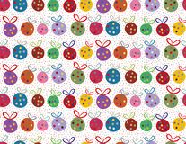 Funky Christmas baubles and confetti. Vibrant funky multicolour Christmas baubles on warm white confetti background. Seamless vector halfdrop repeat pattern royalty free illustration
