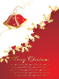 Funky christmas wallpaper with snowflake and bell Royalty Free Stock Image