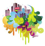 Funky city. Background.created by Adove Illustrator cs Stock Photo